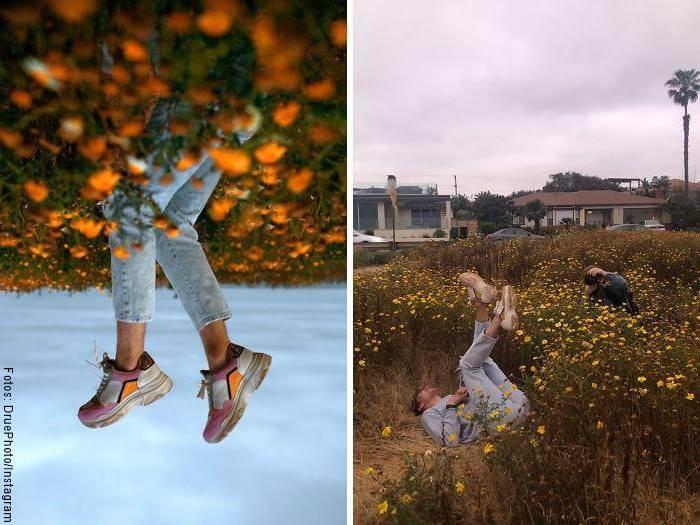 Foto detrás de cámaras v. resultado en trucos para fotos de Instagram