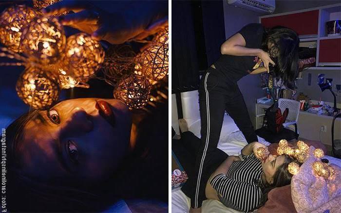 Mosaico de dos fotos de mujer montaje vs. resultado final
