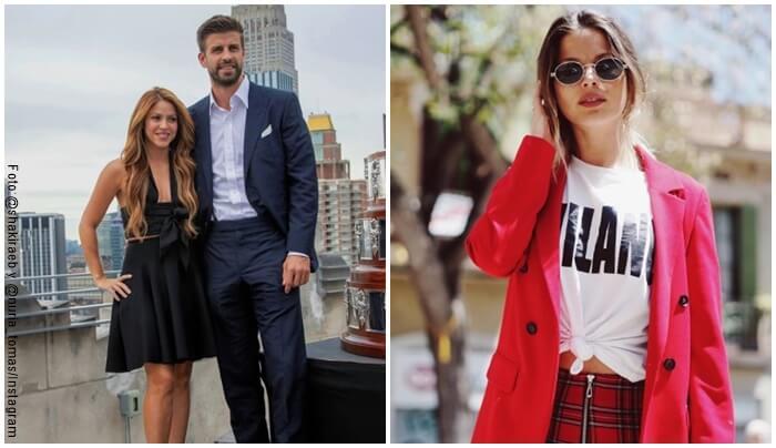 Fosto de Shakira con Pique posando en una terraza y otra de Núria Tomás con gafas negras y gaban rojo