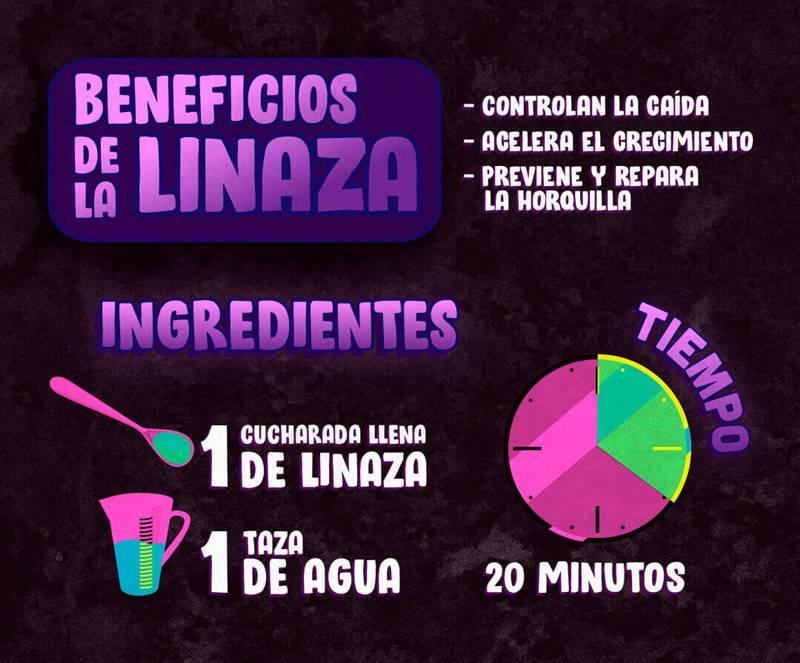 Infografía de los beneficios de la Linaza para el cabello y cómo aplicarla