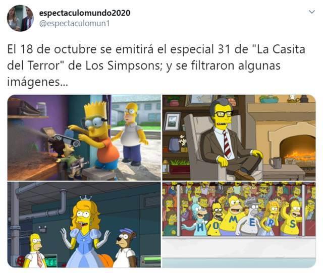 Print de Twitter sobre Los Simpson