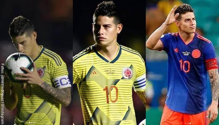 3 fotos de James Rodríguez con la camiseta de la Selección Colombia