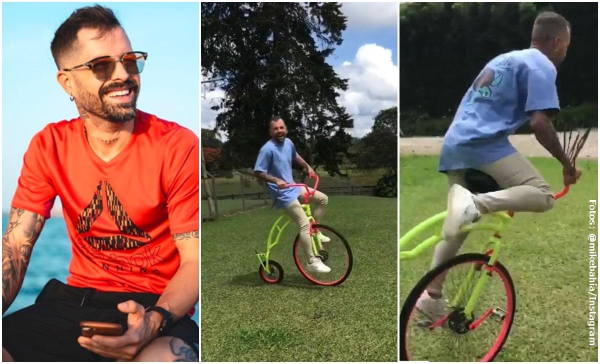 Mike Bahía generó ola de risas con el golpazo que se dio en bicicleta