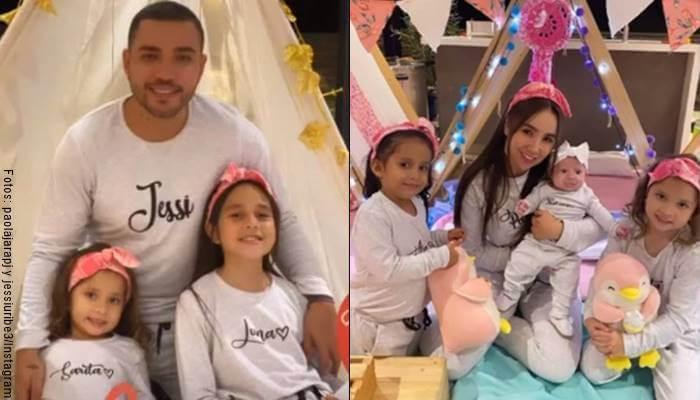 Mosaico de fotos de Paola Jara y Jessi Uribe con la familia de él