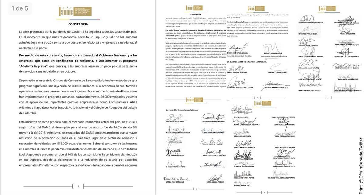 """Print de la constancia del apoyo de congresistas a la campaña """"Adelanta la prima"""""""