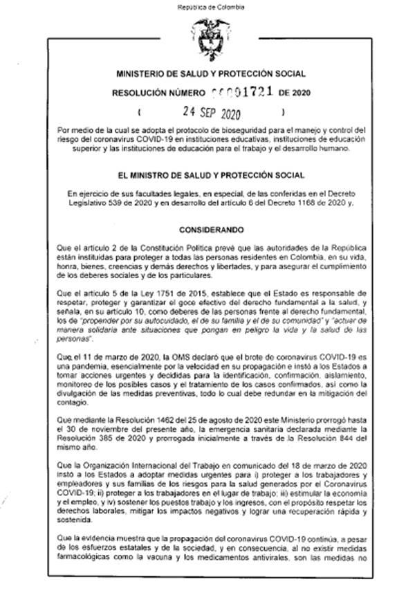Imagen de la primera página del decreto 1721 de 2020 del Ministerio de Salud de Colombia