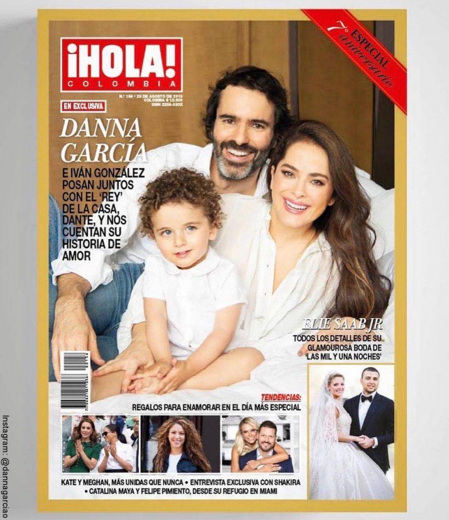 Foto de Danna García, su hijo Dante y su esposo Iván González para la revista Hola Colombia