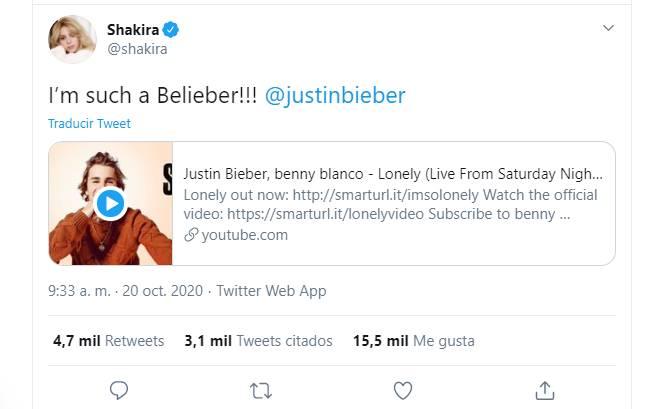 Screenshot del tuit hecho por Shakira sobre Justin Bieber