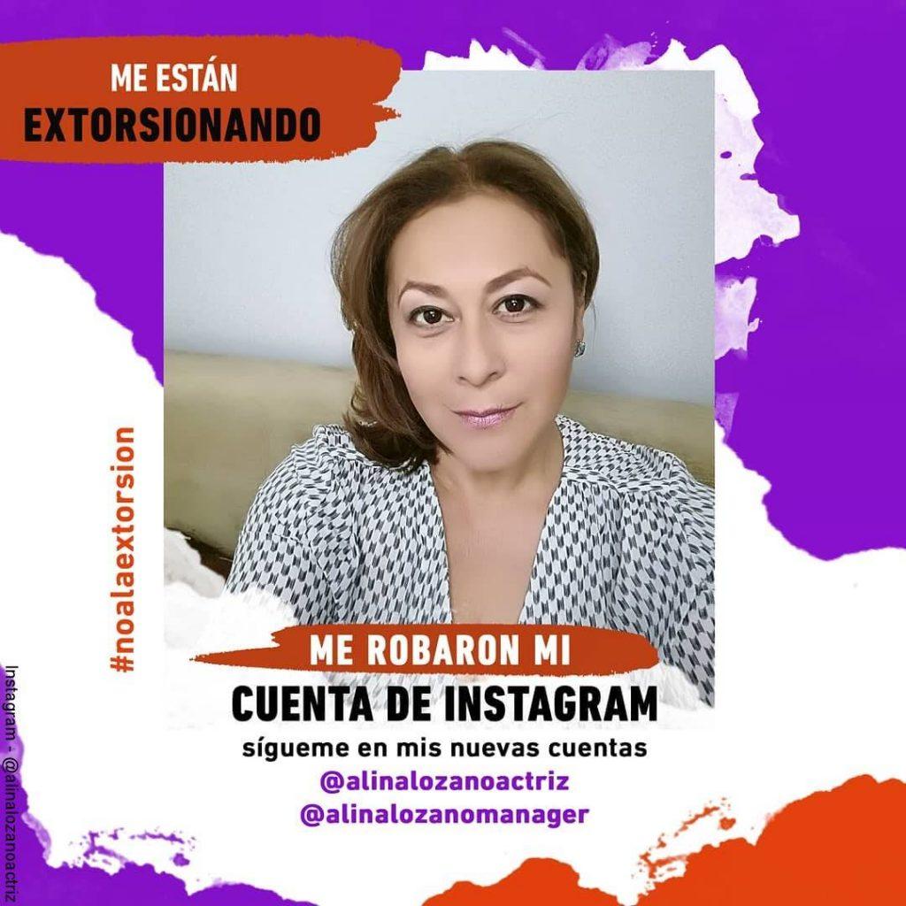 Foto de la denuncia publica hecha por Alina Lozano sobre el hackeo de su cuenta de Instagram