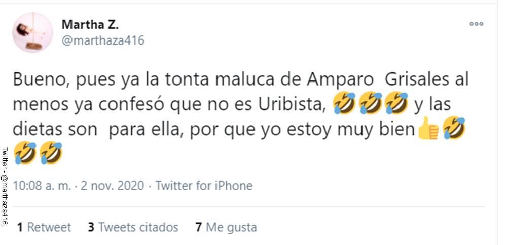 Screenshot de la respuesta de la usuaria de Twitter en contra de Amparo Grisales