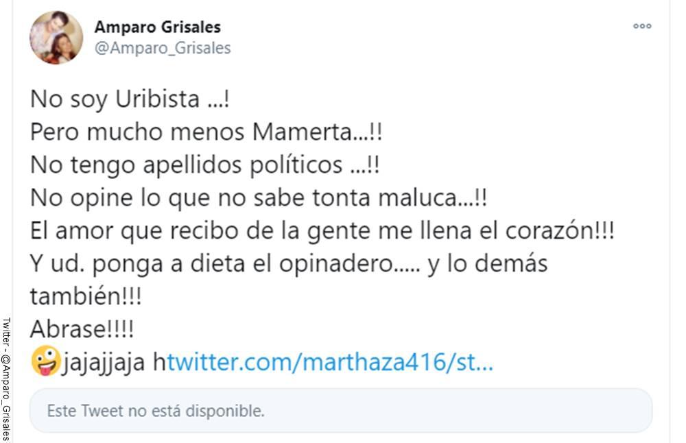 Screenshot de la respuesta de Amparo Grisales en Twitter