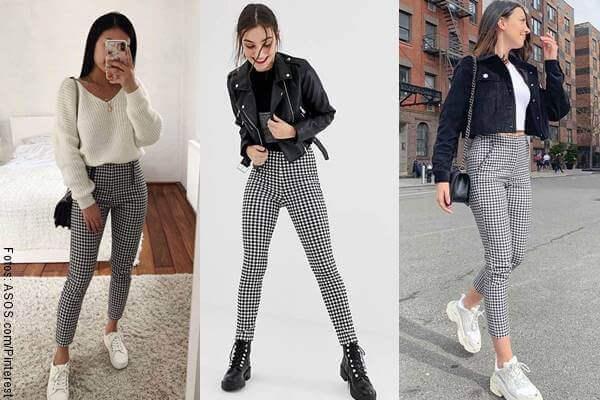 Foto de 3 chicas en mosaico con pantalones a cuadros