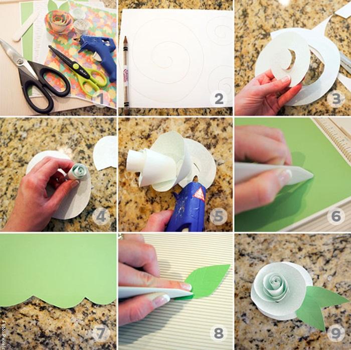 Foto de un paso a paso para ilustrar cómo hacer flores de papel