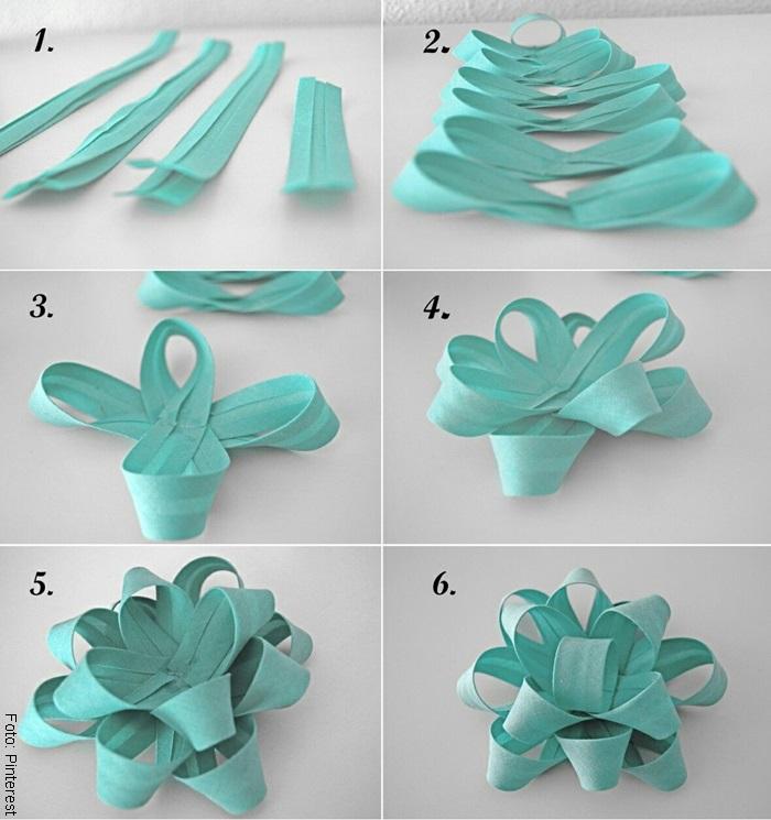Foto de un paso a paso para ilustrar cómo hacer moños con cinta