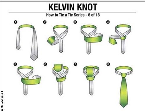 Foto del nudo kelvin para ilustrar cómo hacer nudo de corbata