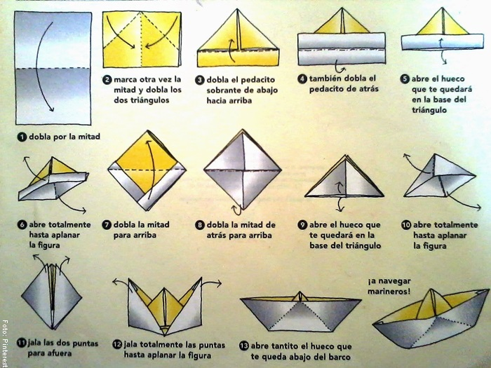 Foto del paso a paso para ilustrar cómo hacer un barco de papel