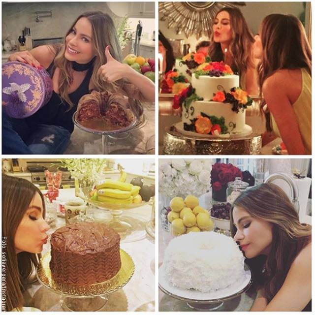 Mosaico de fotos de la actriz Sofía Vergara al lado de pasteles y tortas