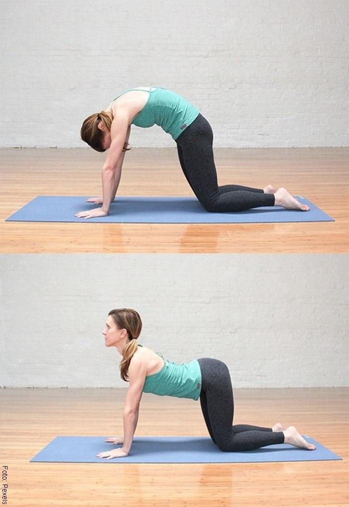 Foto de mujer haciendo el ejercicio de gato