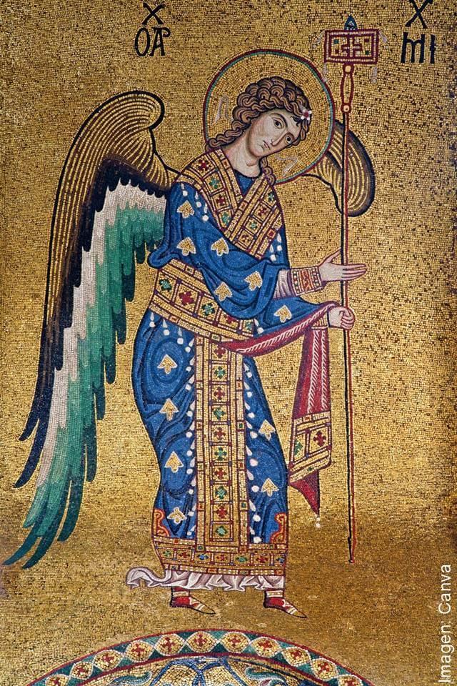 Imagen de un mural medieval que muestra un ser celestial