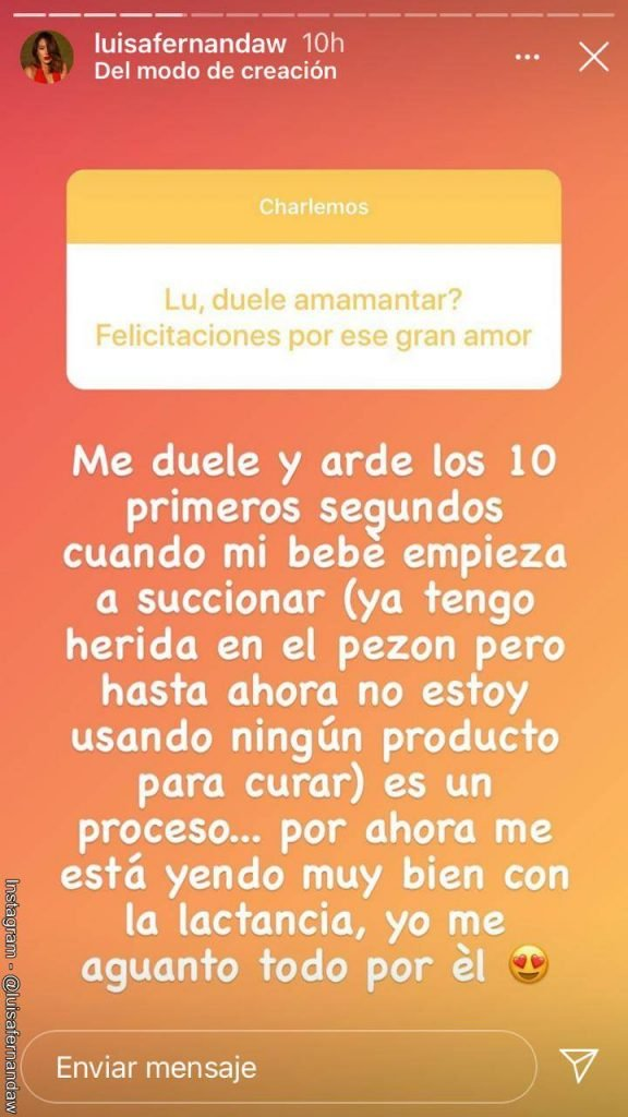 Screenshot de la pregunta que le hicieron a Luisa Fernanda W en sus historias de Instagram