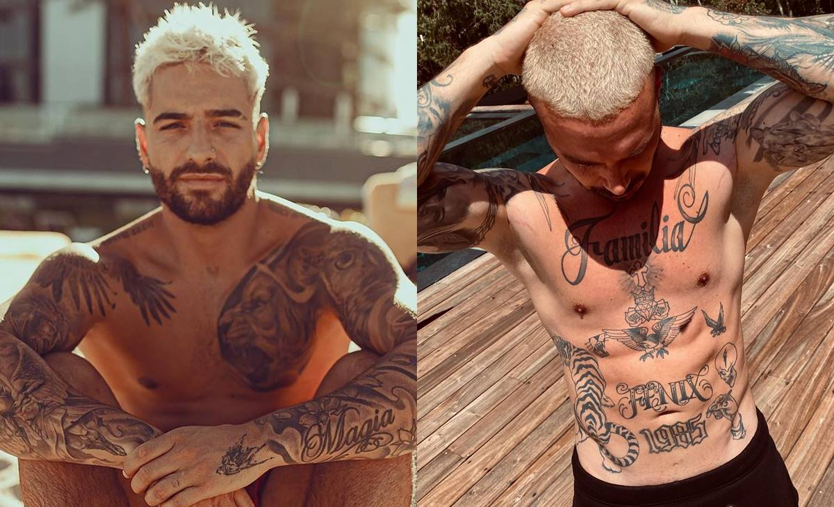 Foto de Maluma y J Balvin luciendo los tatuajes de su cuerpo, además con el pelo mono