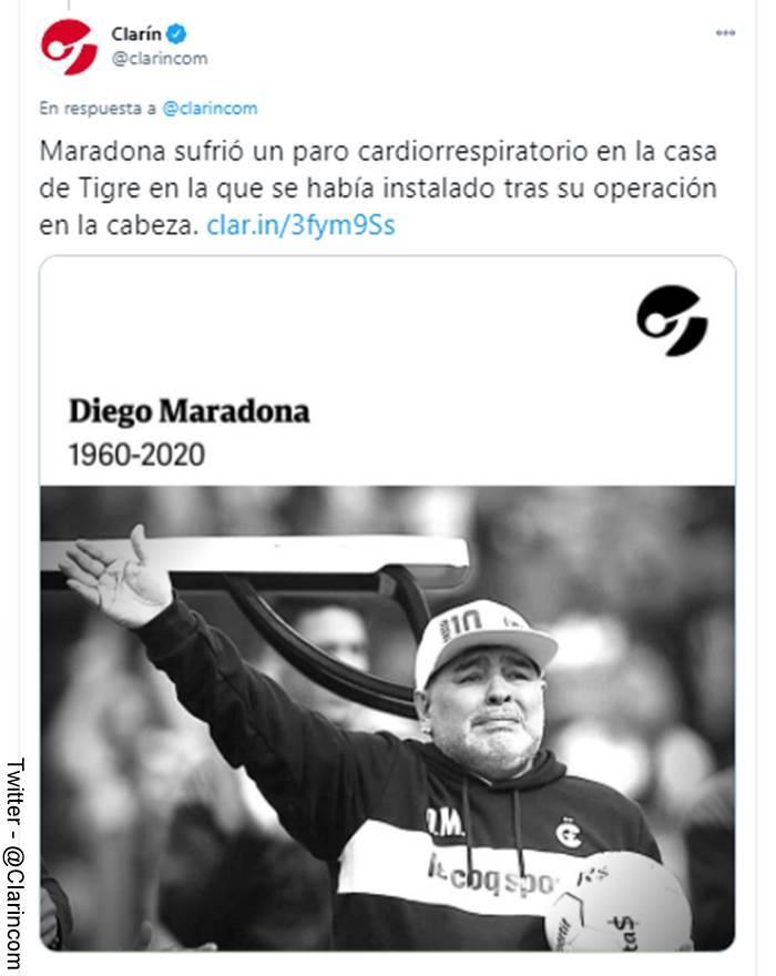 Screenshot del tuit con el que se informó de la muerte de Diego Maradona