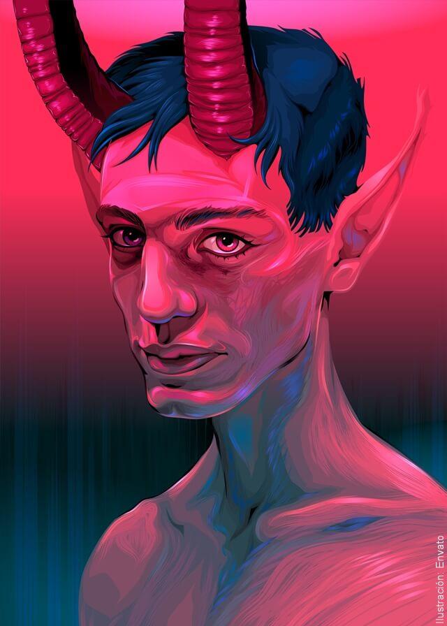 ilustración de chico diablo