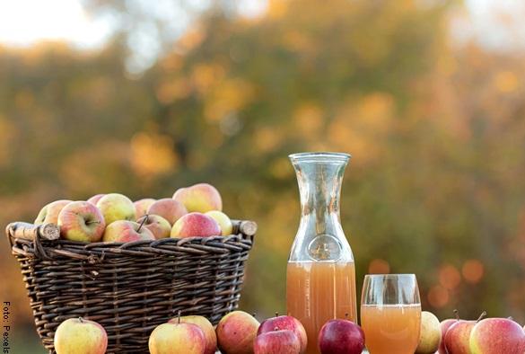 Foto de una botella de vinagre de manzana