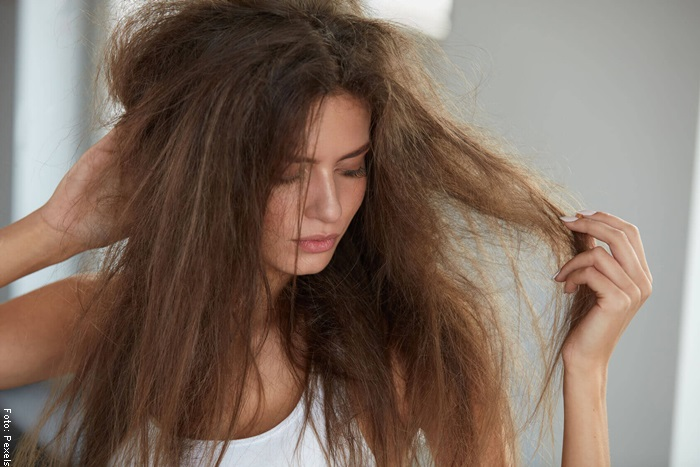Foto de una mujer con el cabello reseco