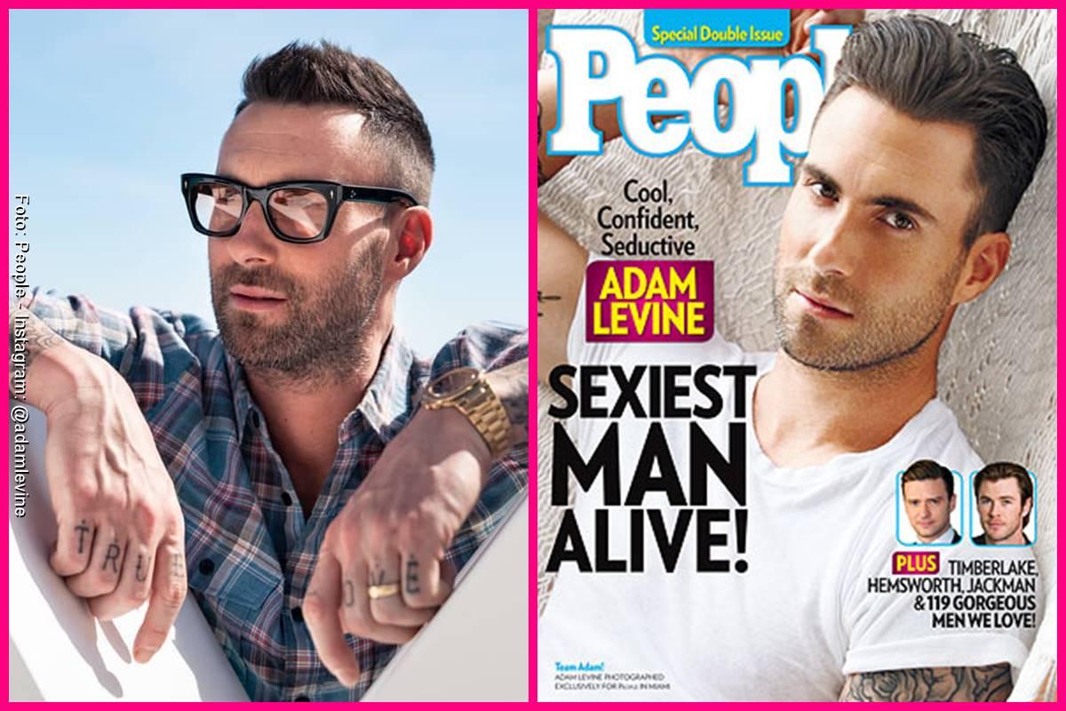 Foto comparando a Adam Levine en la portada de People y como se ve actualmente