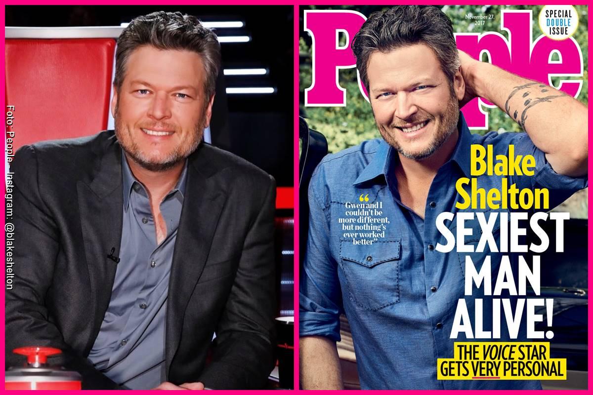 Foto comparando a Blake Shelton en la portada de People y como se ve actualmente