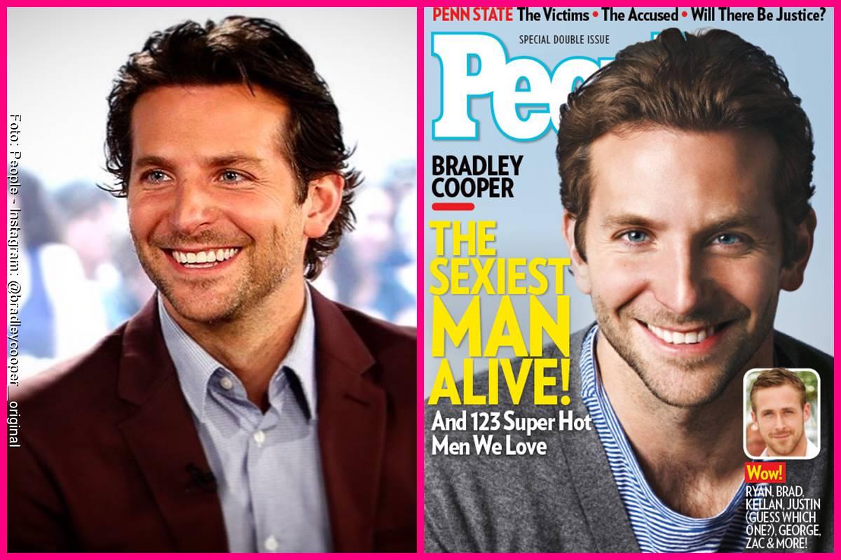 Foto comparando a Bradley Cooper en la portada de People y como se ve actualmente