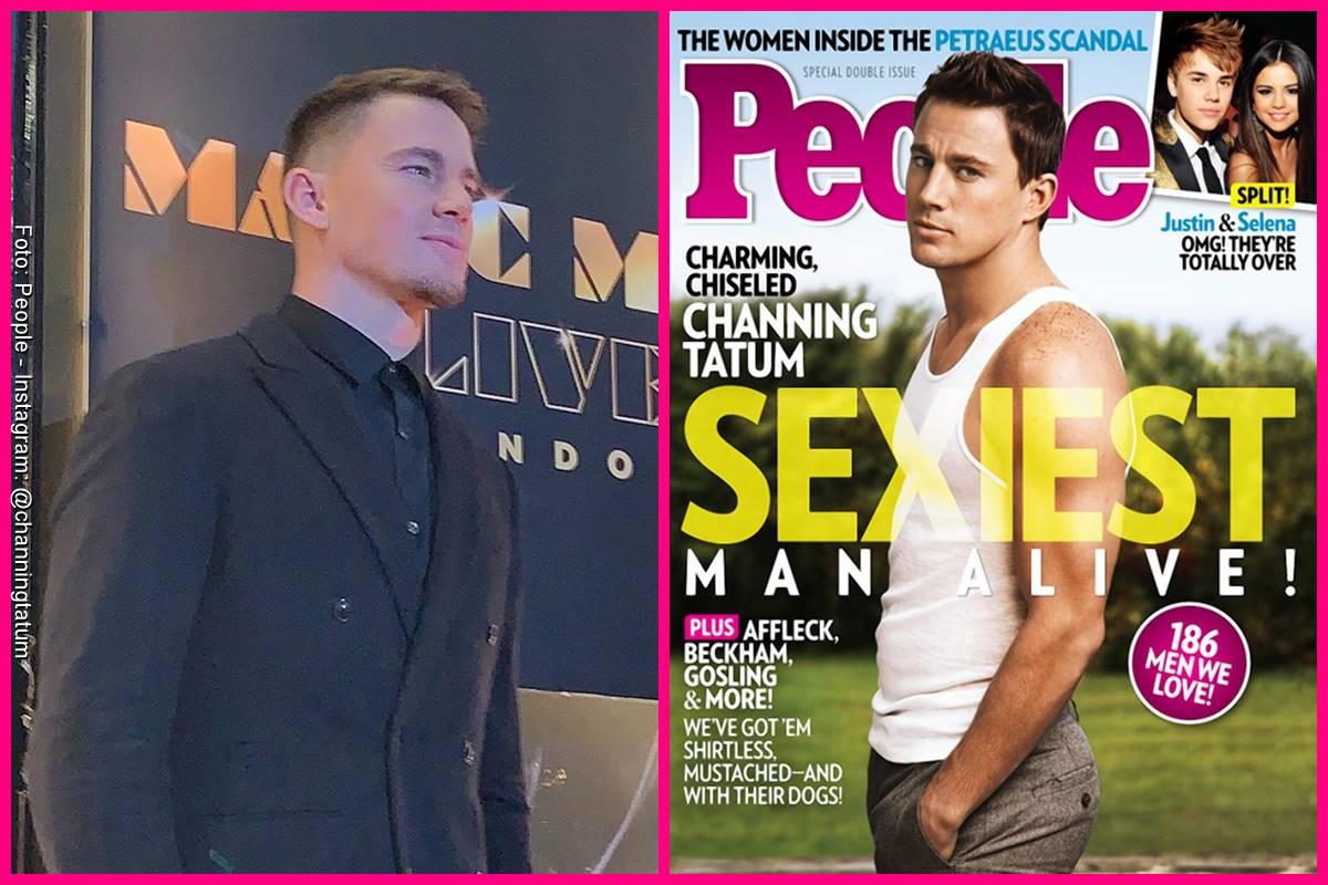 Foto comparando a Channing Tatum en la portada de People y como se ve actualmente