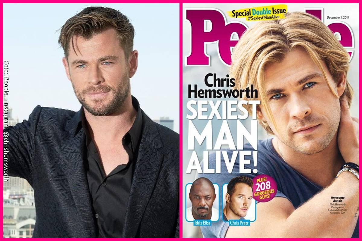 Foto comparando a Chris Hemsworth en la portada de People y como se ve actualmente