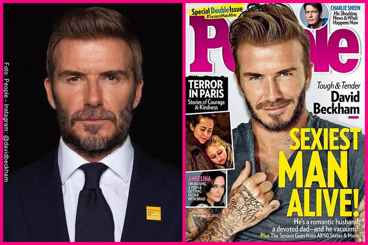 Foto comparando a David Beckham en la portada de People y como se ve actualmente