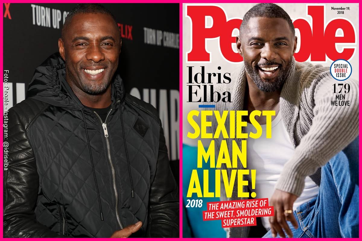 Foto comparando a Idris Elba en la portada de People y como se ve actualmente
