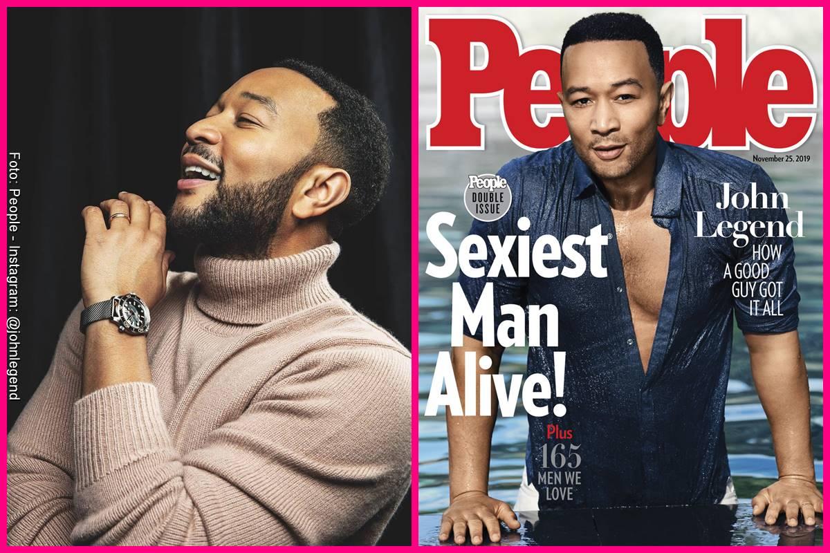 Foto comparando a John Legend en la portada de People y como se ve actualmente
