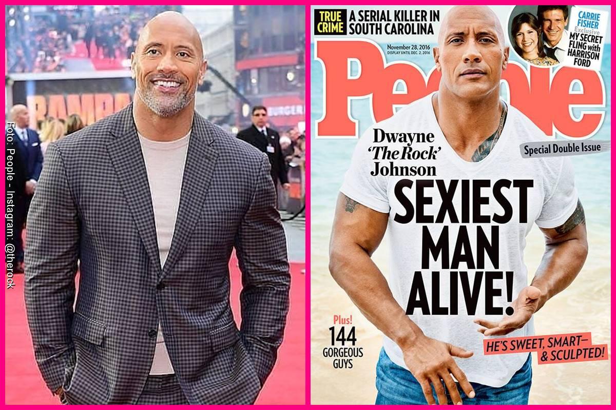 Foto comparando a Dwayne Johnson en la portada de People y como se ve actualmente