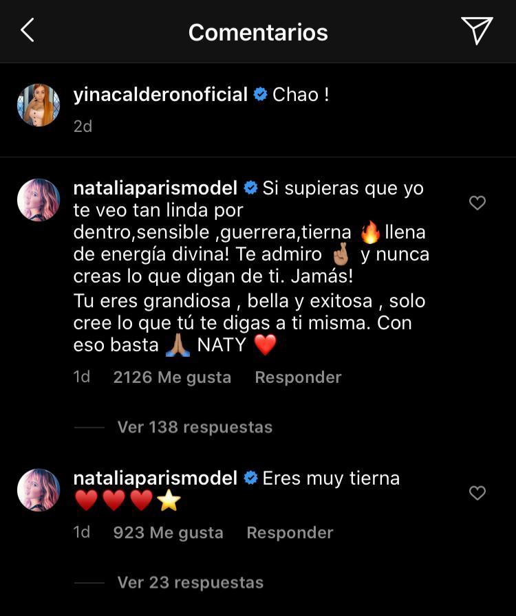 Screenshot del comentario que dejó Natalia París en la publicación de Yina Calderón