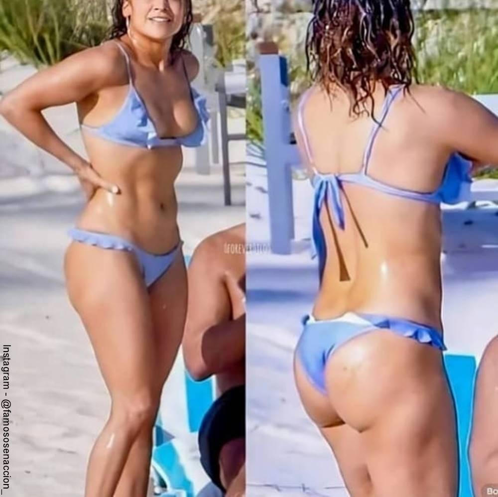 Foto de una mujer que aparentemente es Jennifer Lopez con un bikini azul