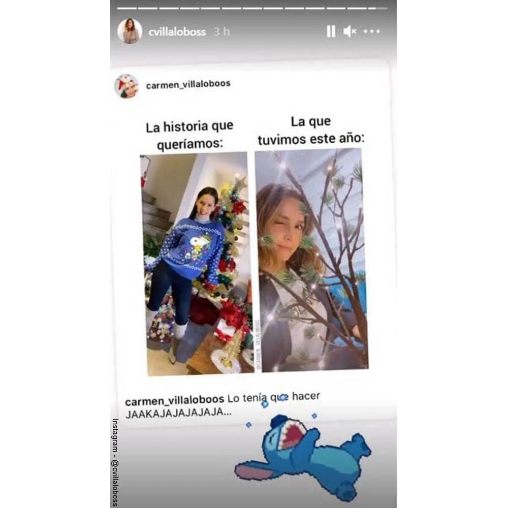 Screenshot del meme de Carmen Villalobos y su arbolito de Navidad
