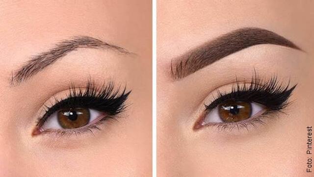 foto que ilustra un ojo sin maquillar y con maquillaje