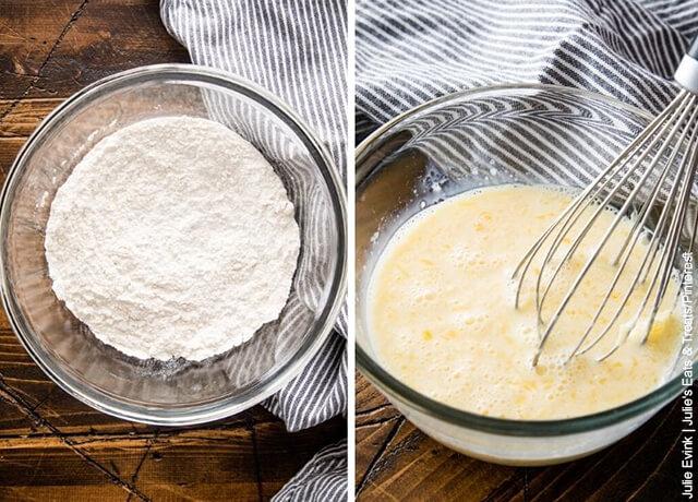 Foto de bols con mezcla de harina y huevo que muestra cómo hacer arepuelas