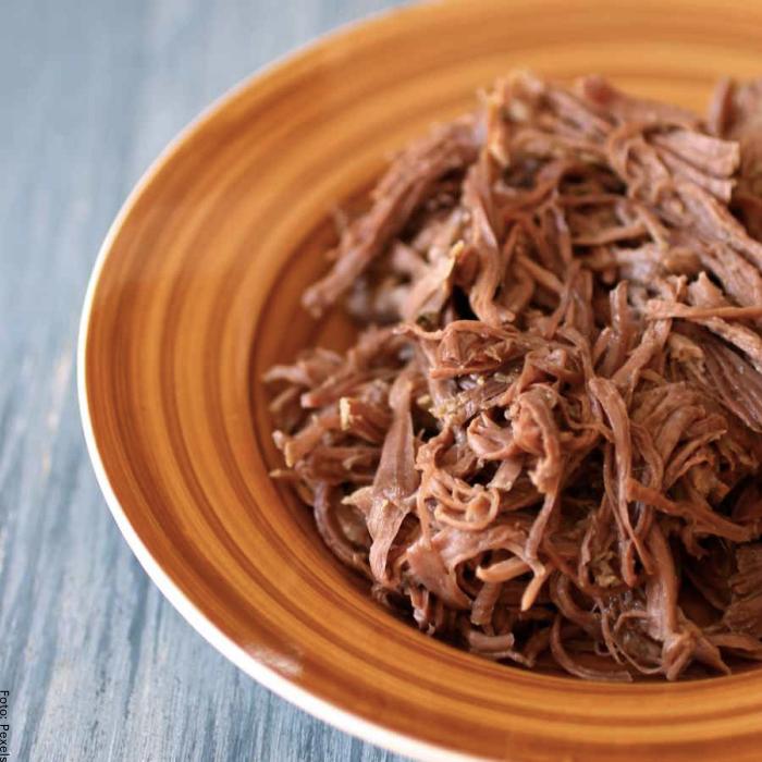 Foto de la carne desmechada ya preparada en un plato