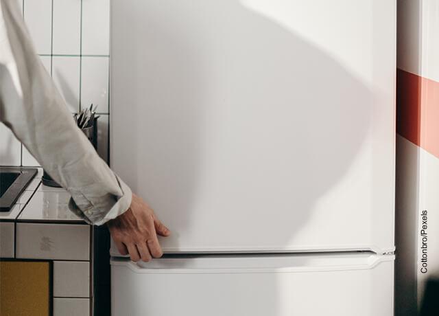 Foto de una mujer abriendo un refrigerador que ilustra cómo hacer gelatina