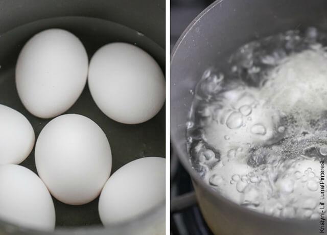 Foto de dos ollas con agua que ilustran cómo hacer huevos tibios