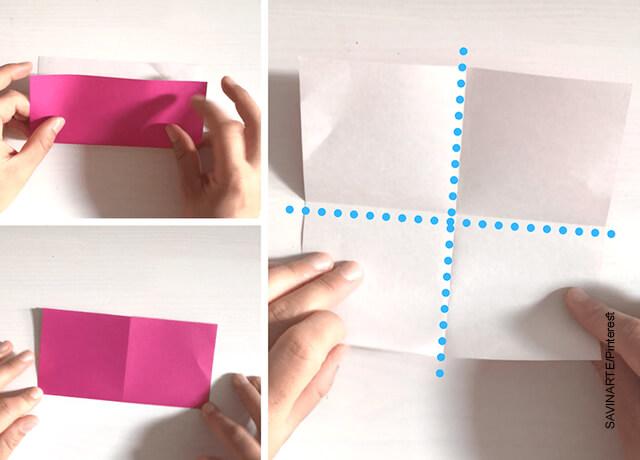 Foto de unas manos doblando un papel rosado que ilustra cómo hacer un corazón de papel