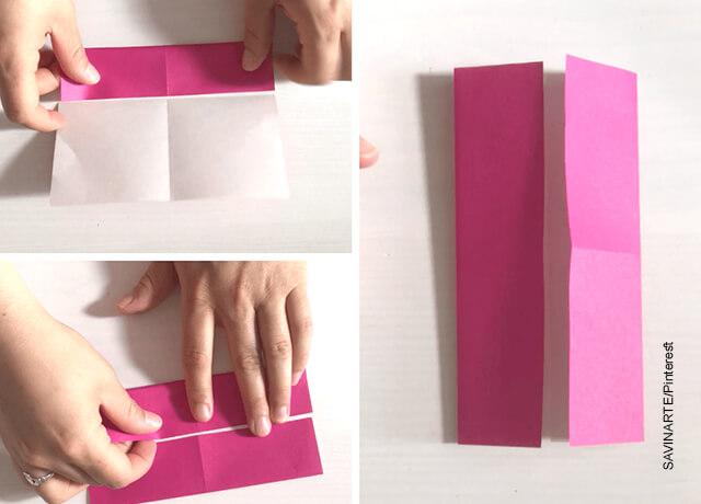 Foto de las manos de una mujer plegando una hoja que muestra cómo hacer un corazón de papel