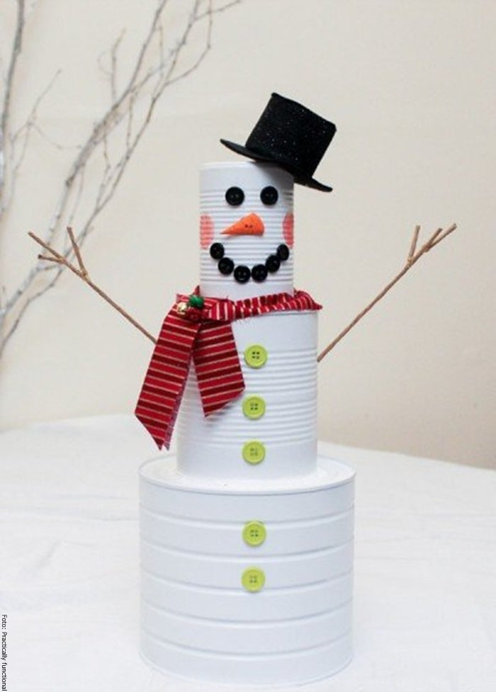 Foto del muñeco de nieve ya terminado