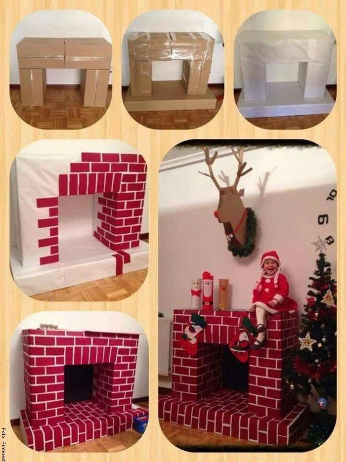 Foto de un paso a paso para saber cómo hacer una chimenea navideña